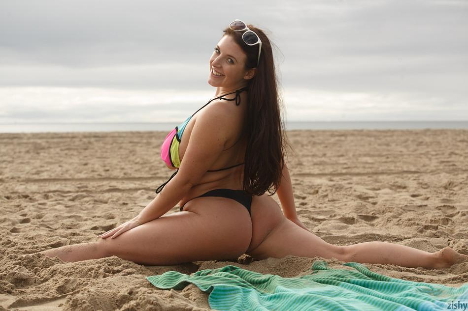See through bikini at the nude beach